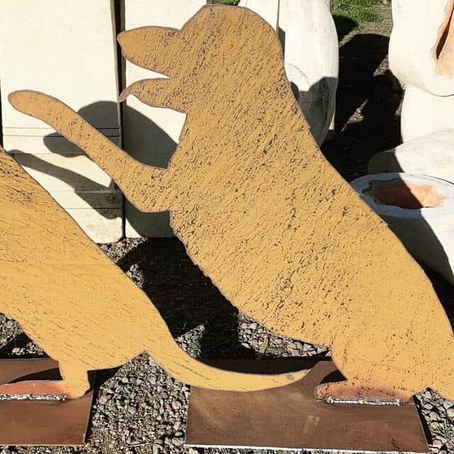 Metal Garden Dog Sculptures